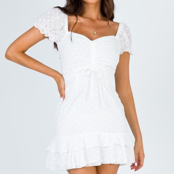 Princess Polly white summer mini dress.